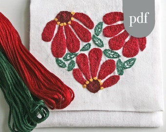 Crewel Embroidery Kit  DIY Pattern pdf  Zinnia Heart in christmas Red and Green digital download tutorial