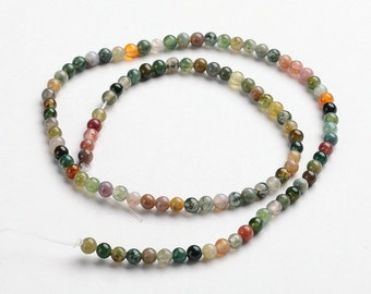Natural Indian Agate Stone Beads Strands 4mm Round