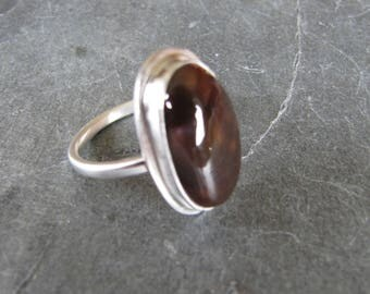Mexican Fire Agate Ring in Sterling Silver