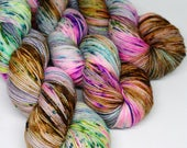 Hand Dyed Speckled Sock Yarn - SW Sock 80/20 - Superwash Merino Nylon - 400 yards  - Bon Voyage