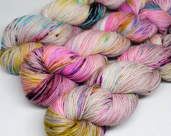 Hand Dyed  Speckled Sock Yarn - SW Sock 80/20 - Superwash Merino Nylon - 400 yards  - Filthy Animals