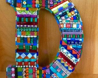 """Mosaic """"bling"""" letter D"""