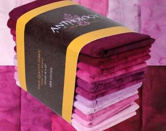 12 Fat Quarter Batik Bundle - Fuchsia Pink