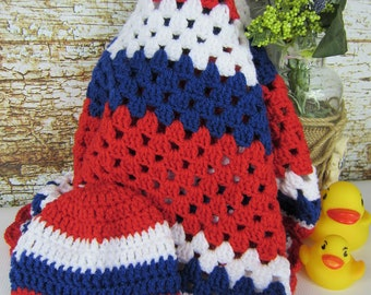 Crochet Baby Blanket with hat, Red White Blue Afghan, granny square blanket, nursery gift, baby shower gift, boy girl blanket, 4th July