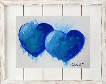 Original Fine Art Painting - Two Blue Hearts, Show your Love With This Gift