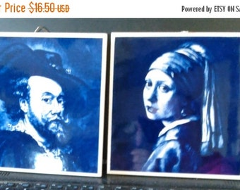 2 DAY SALE Wall Tiles Man and Woman Decorative Tiles, set of 2