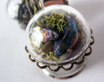 "Pair of Peacock Ore, Lavender, and Moss Statement Plugs - Terrarium Gauges - 6g, 4g, 2g, 0g, 00g, 7/16"", 1/2"", 9/16"", 5/8"", 3/4"", 7/8"", 1"""