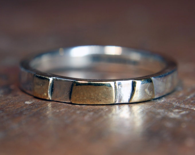 "2mm ""Woodland"" ring. Recycled sterling silver & 9ct or 18ct gold. Hand made in the UK."