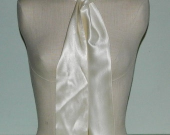 Vintage White Satin Scarf, Sash or Belt
