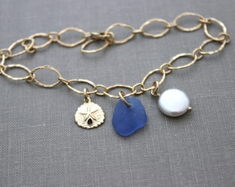 Cornflower blue genuine sea glass, sand dollar and white coin pearl bracelet - 14k Gold Filled Link Bracelet -Beach Jewelry - Authentic