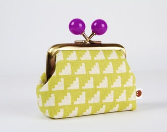Metal frame coin purse with color bobbles - Steps in lime green - Color mum / Japanese fabric / Minimalist / citron purple / Ellen Baker
