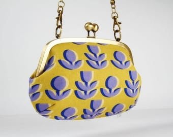 Metal frame purse with shoulder strap - Retro flowers in yellow and blue - Swing purse / Japanese fabric / Ellen Baker / Paint
