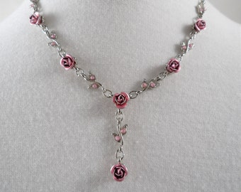 Lovely Pink Roses & Rhinestones Silver Tone Y Necklace