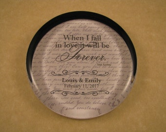 Anniversary Gift, Jane Austen Quote, Quote Paperweight, Forever Quote, Wedding Keepsake, Round Glass, Glass Paperweight, Personalized Gift