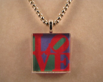 LOVE Red Purple Green Square Glass Pendant with Necklace Anniversary Gift Sweetest Day Necklace Valentine's Day Pendant