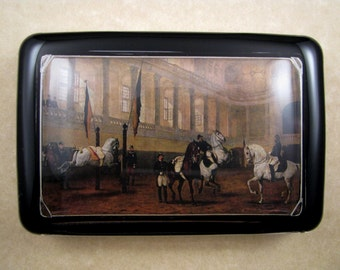 """Spanish Riding School """"Morning Training in the Riding School in the Nineties"""" Julius Von Blaas Painting Large Rectangle Glass Paperweight"""