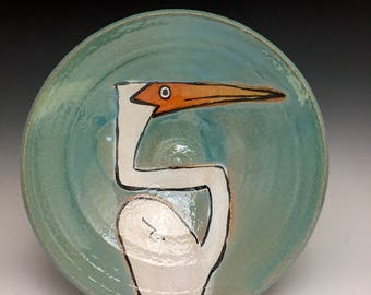 Serving Bowl: Tropical Heron; Decorative Functional Fine Art