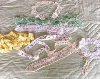 Vintage Lacy Crochet Fabric Trims, 10 pieces, white, green, yellow, big and small lace crochet