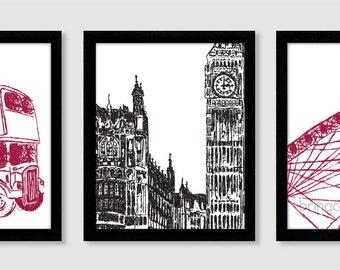 London Sketch Set of 3 Wall Print 8X10 big ben, double decker bus, london eye