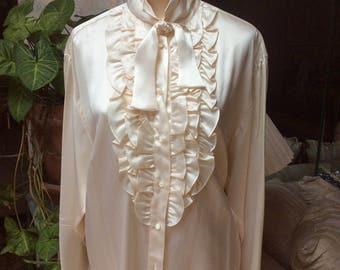 Vintage creamy beige silk ruffled blouse, Ralph Lauren pearly beige silk dressy blouse, sz 12/M/L beige ruffled front silk Lauren blouse