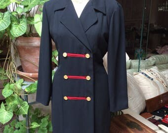 Vintage military inspired navy blue dress, body shaping double breasted navy dress, Chaus navy inspired professional dress, sz 4 coat dress