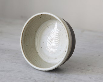 Wheel Thrown White Speckled Small Bowl With Silver Leaf