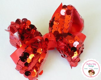 BOW BLOWOUT---Boutique Large Hair Bow Clip---Red---Sequins & Tulle---Ready to Ship