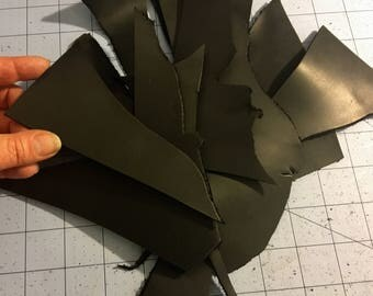Small black Leather scraps pieces, for making crafts like bracelets, pins, fascinators