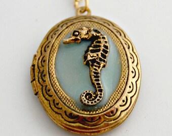 Locket Necklace Seahorse Jewelry Nautical Wedding Ocean Sea Horse Lockets Keepsake Customized Personalized Turquoise Unique Gifts Ocean Sea