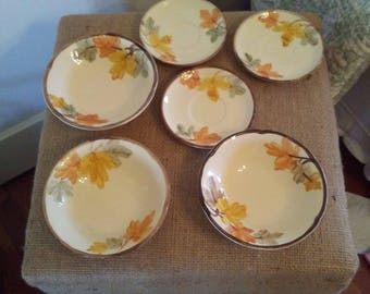 "Vintage Fransiscan Hand Painted ""October"" Fall Leaves 6 piece Lot"