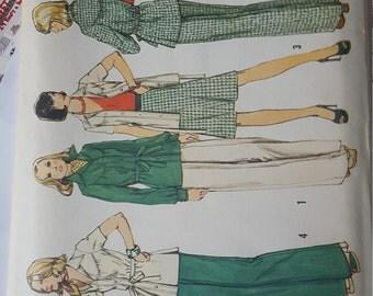 1970s Casual Wardrobe Leisure Jacket Blouse Slacks Wide Leg option Skirt 14 Simplicity 6191