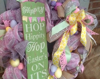HIPPITY HOP EASTER wreath with tons of fun eggs- Spring Wreath