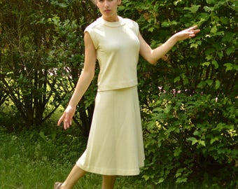 Mod 60s Jonathan Logan Outfit Vintage Skirt n Blouse Sz S