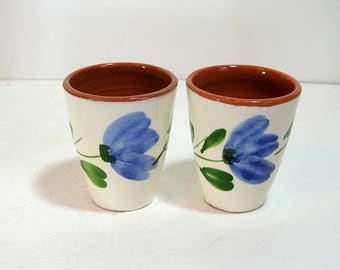 Redware Drinking Glasses with Hand Painted Blue Flowers