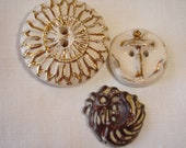 Vintage Ceramic Buttons, White with Gold lines and an Anchor and a Bronze glazed Hen