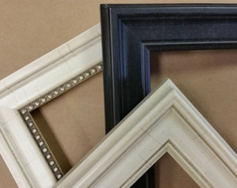 10 x 13, 11 x 14, 12 x 16 Custom Classic Wood Picture Frames, black and cream
