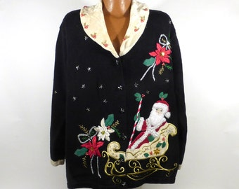 Ugly Christmas Sweater Vintage Cardigan Party Holiday Tacky Santa Women's size 2X