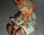 Hummel Goebel Book Worm little girl with book duck and flower
