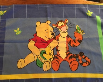 Winnie the Pooh Tigger Pillowcase Reclaimed Bed Linens Fabric Standard Size Pillow Case 19 x 30 Bedding Disney