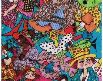 1/2 Yard Cut Clown Mime Dolls Cotton Fabric for Sewing Crafts .5 Yd Material Colorful  Rainbow Colors