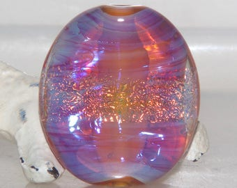 Golden Amber Pink Dichroic Lampwork Glass Bead