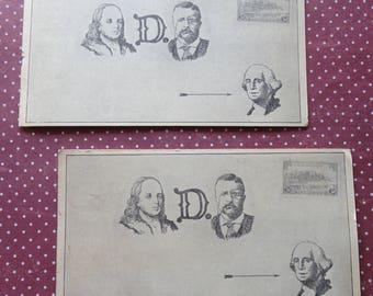 Teddy Roosevelt Ben Franklin on Antique Postcards to Franklin D Roosevelt Sent by Editor Francisco Cerdeira Hotel Condado Puerto Rico