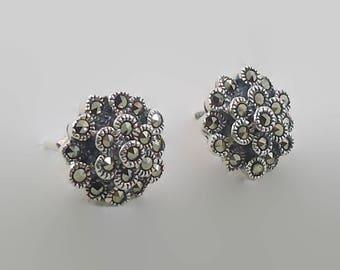 Marcasite Earrings, Sterling Silver, Vintage Earrings, Flowers, Pierced, Posts, Black Stone, Sparkling, Elegant, InVintageHeaven