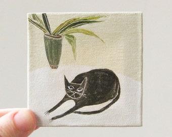 modern cat / cat art, original small painting