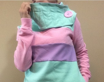 SALE COTTON CANDY Hoodie Sweatshirt Sweater - Recycled Upcycled - One of a Kind Women - Small
