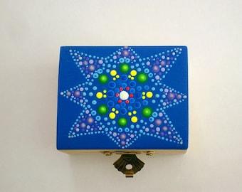 ooak 3D dot art-hand painted wood trinket stash box-jewelry storage boxes-keepsakes-collectible-best friend gift ideas-mandala neon glow