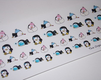 48 Sick Day Stickers / Pearl the Penguin ~ Great for your Erin Condren Life Planner
