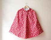 Custom size raincoat Red Floral Raincoat, Burgundy and Pink Roses Romantic Rain Cape with Hood