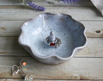 Wedding Ring Holder White Speckled Handmade Ceramic Jewelry Dish Ready to Ship Handcrafted in USA
