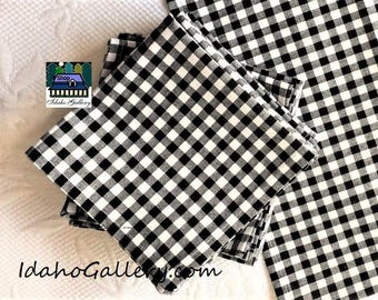 Set of 12 Black and White Gingham Check Fabric Napkins Sustainable Reusable Go Green